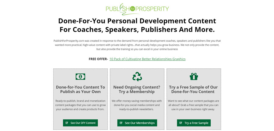 Publish for Prosperity review