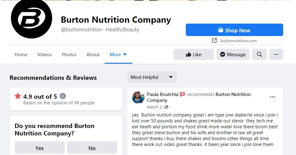 Burton Nutrition review