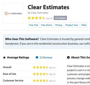 Clear Estimates price review - All-in-one Remodeling Software